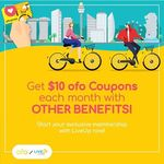 $10 Worth of ofo Coupons Free Monthly for LiveUp Members [LiveUp by Lazada/RedMart]