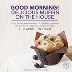 Free Freshly Baked Muffin with Any Beverage Purchase at The Coffee Bean & Tea Leaf (Mon 2nd to Fri 6th April, Until 9am Daily)