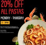 20% off All Pastas at PastaMania (Monday to Thursday, 2-5pm)