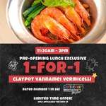 1 for 1 Claypot Vannamei Vermicelli at Shrimp Prawn Seafood (Dine-In, 11.30am to 3pm)