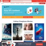 50% Cashback on Second Cathay Cineplexes Movie Ticket Purchases via ShopBack (Thursdays, Visa Cards)