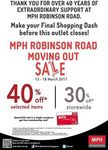 40% Off Selected Items/30% Off Storewide at MPH Bookstores Singapore (Robinson Rd)