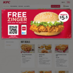 Free Zinger Burger (Worth $5.30) with 1st App Order at KFC