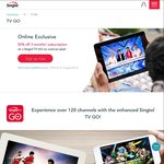 50% off TV GO Subscription for 3 Months on a No Contract Plan @ Singtel (Singtel TV Subscribers)