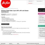 AirAsia - 50-Hour Flash Sale - Up to 50% Off All Asean Destinations