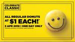 All Regular Donuts for $1 (Minimum Purchase of 6) at Dunkin' Donuts