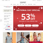 53% off on Every 2nd Full Priced Item Purchased, or 40% off 2 Sale Items at Esprit