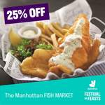 25% off at Manhattan Fish Market, Fish & Co, Teppei Syokudo and Fish & Chicks via Deliveroo