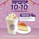 Honey Yuzu White Chocolate with Nata de Coco Drinks + Chicago Cheesecake for $10 at The Coffee Bean & Tea Leaf