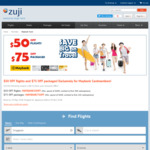 $50 off Flights or $75 off Packages (Min. $500) @ Zuji (Maybank Customers)