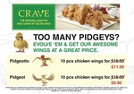 10pcs of Chicken Wings from $9.90 at CRAVE Nasi Lemak & Teh Tarik (Weekdays 2pm to 5pm, Own Pidgeotto or Pidgeot on Pokemon Go)