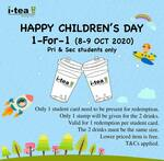 1 for 1 iTea drinks for Primary and Secondary School Students
