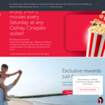 1 for 1 Movie Tickets at Cathay Cineplexes (Saturdays, Singtel Rewards)