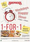 1 for 1 Mains & Desserts - Swensen's Weekday Happy Hour (2.30pm to 4:30pm)