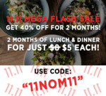 40% off 1st 2 Months: 6 Meals for $32.36, 12 Meals for $61.13 or 20 Meals for $95.88 Per Month at nomnomby