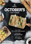 1 for 1 October Deals (Classic Mayo Sandwich, Madeleines, Baguette) at Delifrance