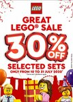 30% off Selected LEGO Sets at METRO