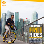 oBike - Unlimited Free Rides (9am to 11am and 3pm to 5pm Daily, Monday 26th to Friday 30th March)