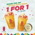 1 for 1 Peach Green Tea with Rainbow Jelly at Gong Cha