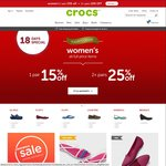 Crocs Women's Footwear - 15% off 1 Pair or 15% off 2+ Pairs, Plus Free Shipping Sitewide