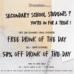 Free Drink of The Day or 50% off Drink of The Day for Secondary School  Students at Sharetea (Northpoint) [2pm to 5pm Daily]