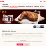 Signature Grilled Chicken for $1.50 at KFC (DBS/POSB Cards)