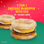 1 for 1 Sausage & Egg McMuffin with Egg at McDonald's (via App)