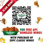 Free 6pc Boneless Wings with Purchase of 20pc Classic Wings at Wingstop