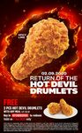 2 Free Hot Devil Drumlets (Worth $2.50) with Any Meal Purchase at KFC