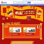 Qoo10 Chinese New Year Coupons - $3 off When You Spend $20, $60 off When You Spend $300
