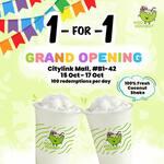 1 for 1 Coconut Shake at Kookoonut (Citylink Mall, Facebook/Instagram Required)