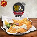 Snapper 'N Chips for $7.48 (U.P. $14.95) [50% off] at Manhattan Fish Market