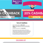 20% Cashback on All Purchases Except Dining at Fave (previously Groupon)