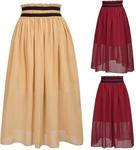 GK Women's Summer Casual Elastic Waist Chiffon A-Line Skirt, USD $7.5 (~SGD $10.15) Delivered @ GraceKarin