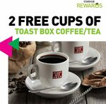 2 Free Cups of Coffee or Tea at Toast Box (StarHub Rewards)