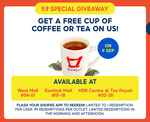 Free Cup of Coffee or Tea from Koufu (Shopee App Required)