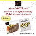 Spend $50 and Receive $50 off on Return Visit at Swensen's via Mobile App (Monday 12th to Friday 16th March)