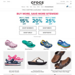 Free Shipping Sitewide (No Minimum Spend) Plus Buy 1 Get 15% off, Buy 2 Get 20% off or Buy 3 Get 25% off at Crocs