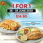 1-for-1 Fish and Chips ($14.90) at The Manhattan Fish Market from 26 to 28 Jun 20