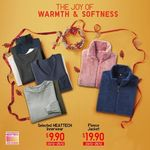 UNIQLO - Selected Heattech Innerwear for $9.90 (U.P. $19.90), Fleece Jackets for $19.90 (U.P. $39.90) (~50% off)