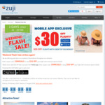 $30 off Mobile App or $20 off Website Flight Bookings (Minimum $200) @ ZUJI