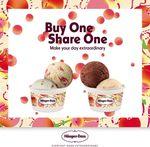 Häagen-Dazs - 1 for 1 White Peach Ice Cream/Yellow Peach Frozen Yogurt Double Scoops (Monday 18th to Friday 22nd June)