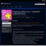 PlayStation Plus 12 Month Membership & 3 Bonus Months for $43.90