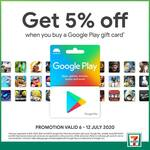 5% off Google Play Gift Cards Over $50 at 7-Eleven