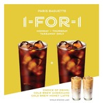 1 for 1 Cold Brew Coffee at Paris Baguette (Facebook Required, Monday to Thursday)