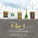 1 for 1 Offer on All Venti-Sized Drinks/Beverages at Starbucks (11th to 14th September, 3pm to 5pm)