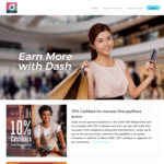 10% Cashback for Overseas Transactions with Singtel Dash via payWave or QR Code [Max $5 Cashback Per Transaction]