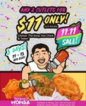 2 Cutlets for $11 (U.P. $13.80) at Monga Fried Chicken