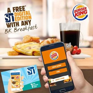 Free Straits Times Digital Edition 1 Day Access Pass with Any Breakfast Purchase at Burger King
