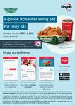 4-Piece Boneless Wing Set for $1 @ Wingstop via Singtel Rewards (Singtel Customers)